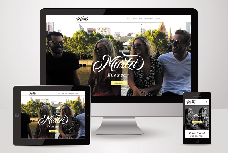 The responsive view of Martzi Eyewear designed and built by Kasio99