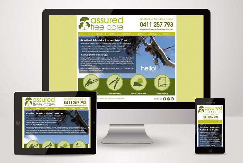The responsive view of Assured Tree Care designed and built by Kasio99