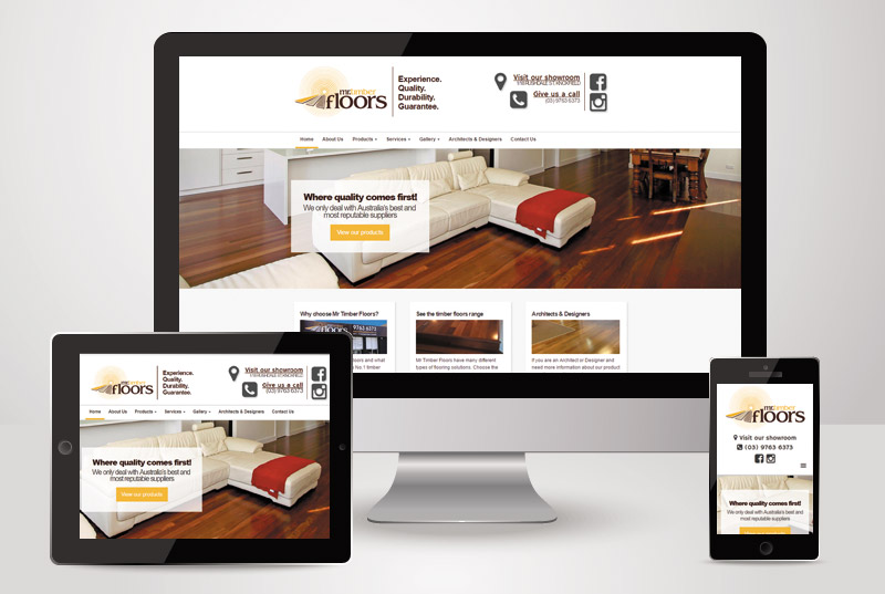 The responsive view of Mr Timber Floors designed and built by Kasio99