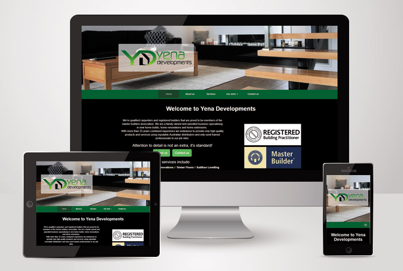 The responsive view of Yena Developments designed and built by Kasio99