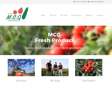Screen shot from Kasio99 web design and development for MCG Fresh Produce
