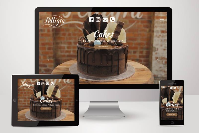 The responsive view of pelligra cakes website designed and built by Kasio99