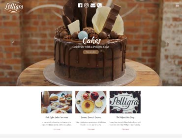 A screen shot of website development for Melbourne Cake shop - Pelligra Cakes