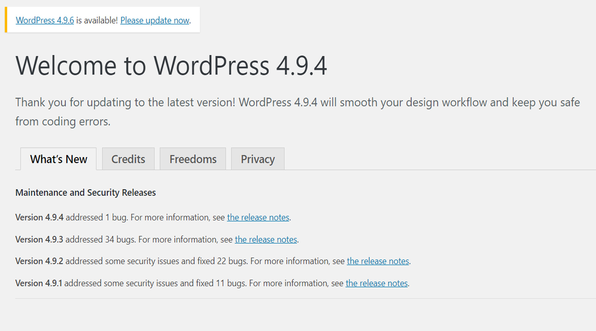 typical wordpress update message