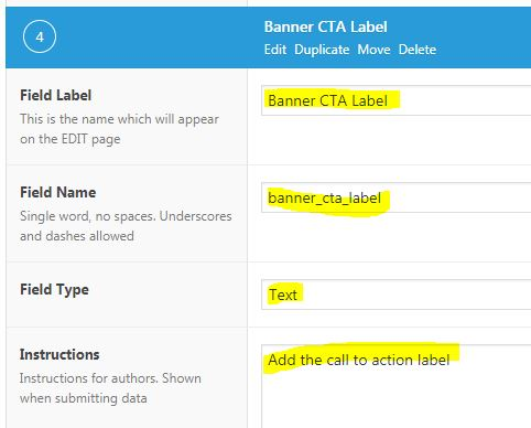 Advance Custom Fields - Banner CTA Label configuration