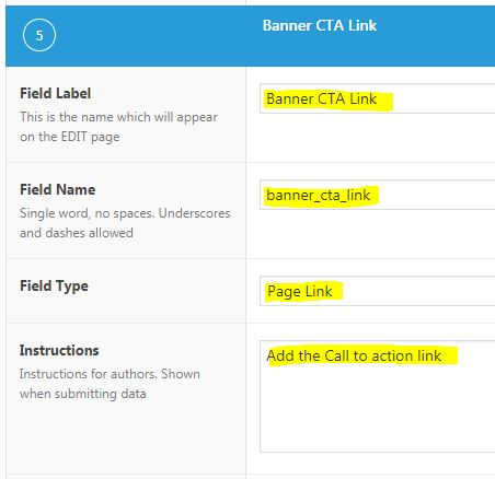 Advance Custom Fields - Banner CTA Link configuration