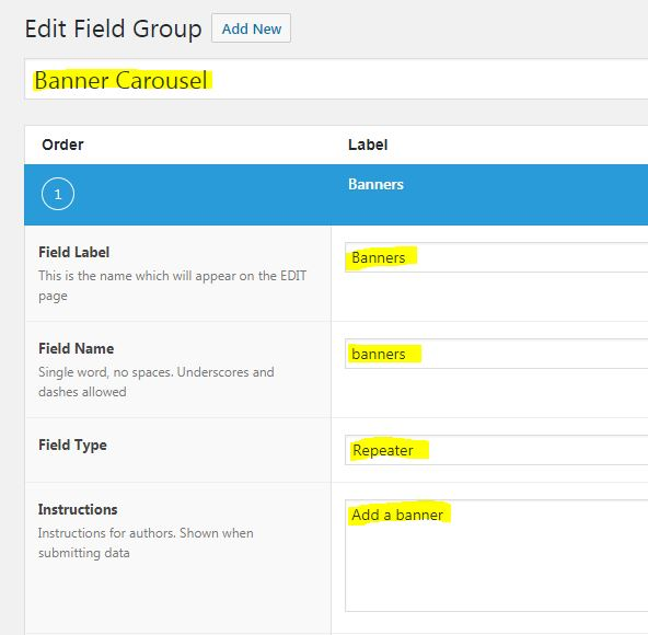 Advance Custom Fields - Field Group configuration settings